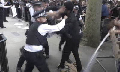 Police officer punched in scuffles outside Downing Street